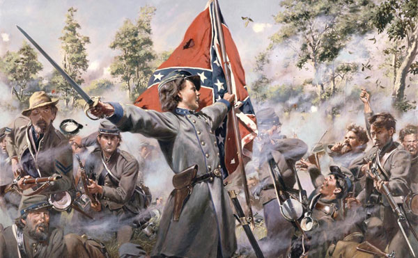 Confederate soldier, flag, saber