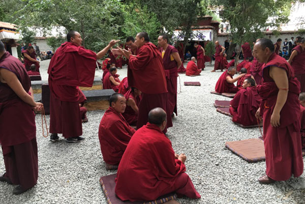 Group of monks in garden